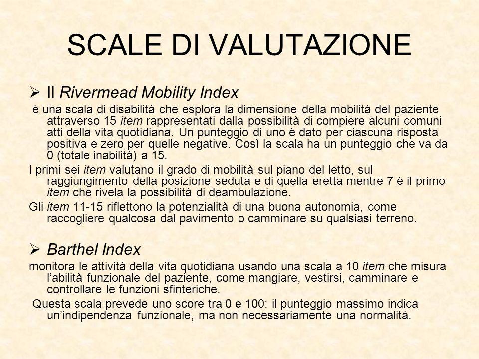 SCALE DI VALUTAZIONE Il Rivermead Mobility Index Barthel Index
