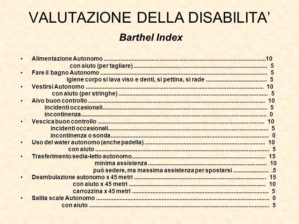 VALUTAZIONE DELLA DISABILITA'