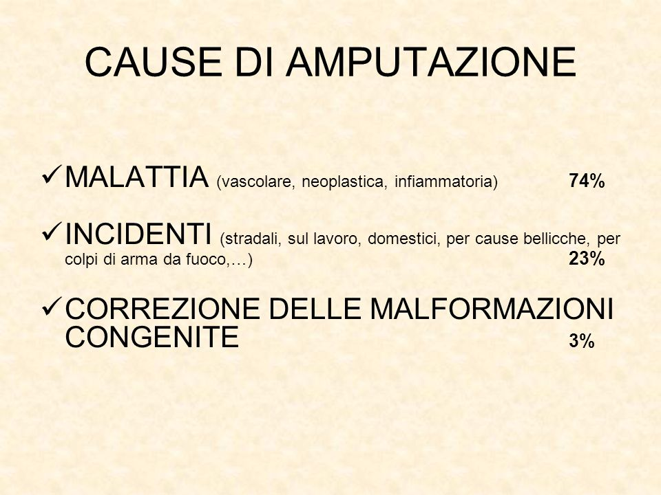 CAUSE DI AMPUTAZIONE MALATTIA (vascolare, neoplastica, infiammatoria) 74%