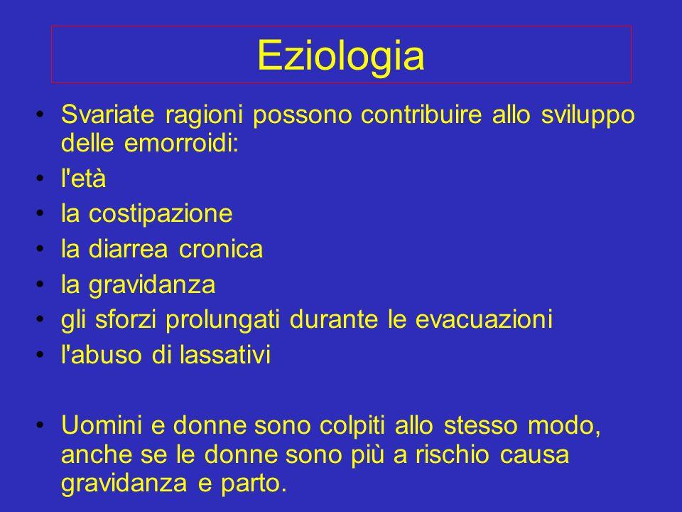 Eziologia Svariate ragioni possono contribuire allo sviluppo delle emorroidi: l età. la costipazione.