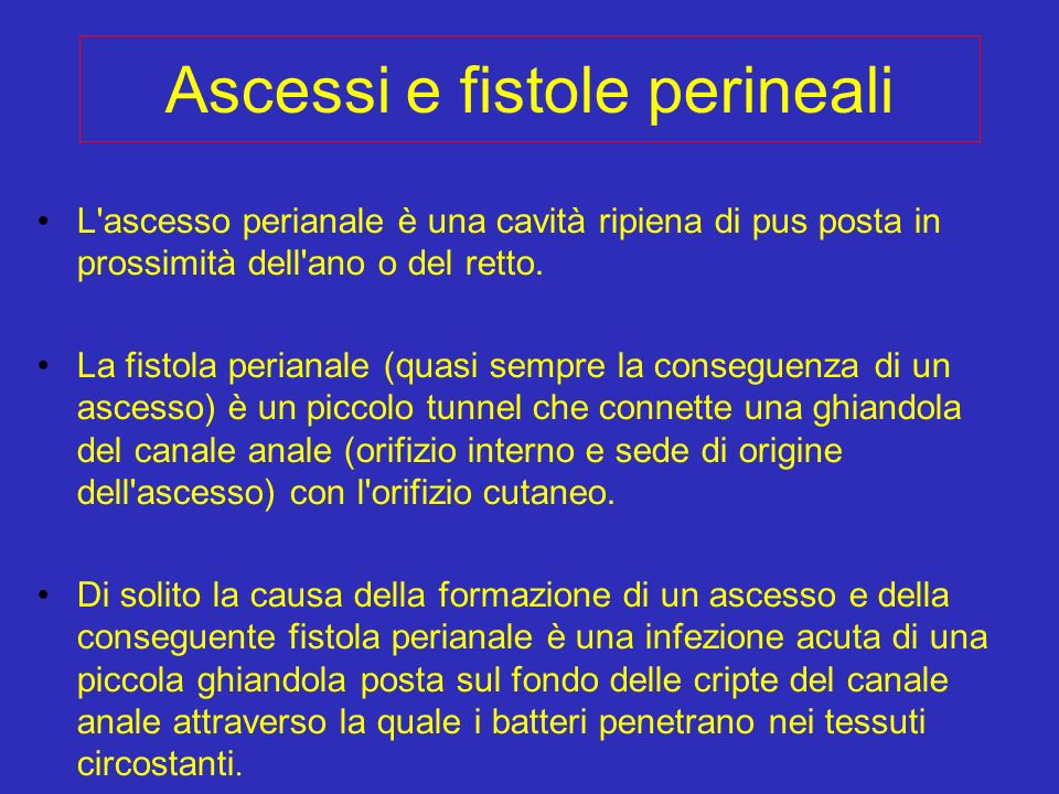 Ascessi e fistole perineali