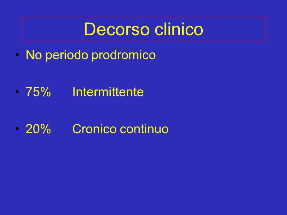Decorso clinico No periodo prodromico 75% Intermittente