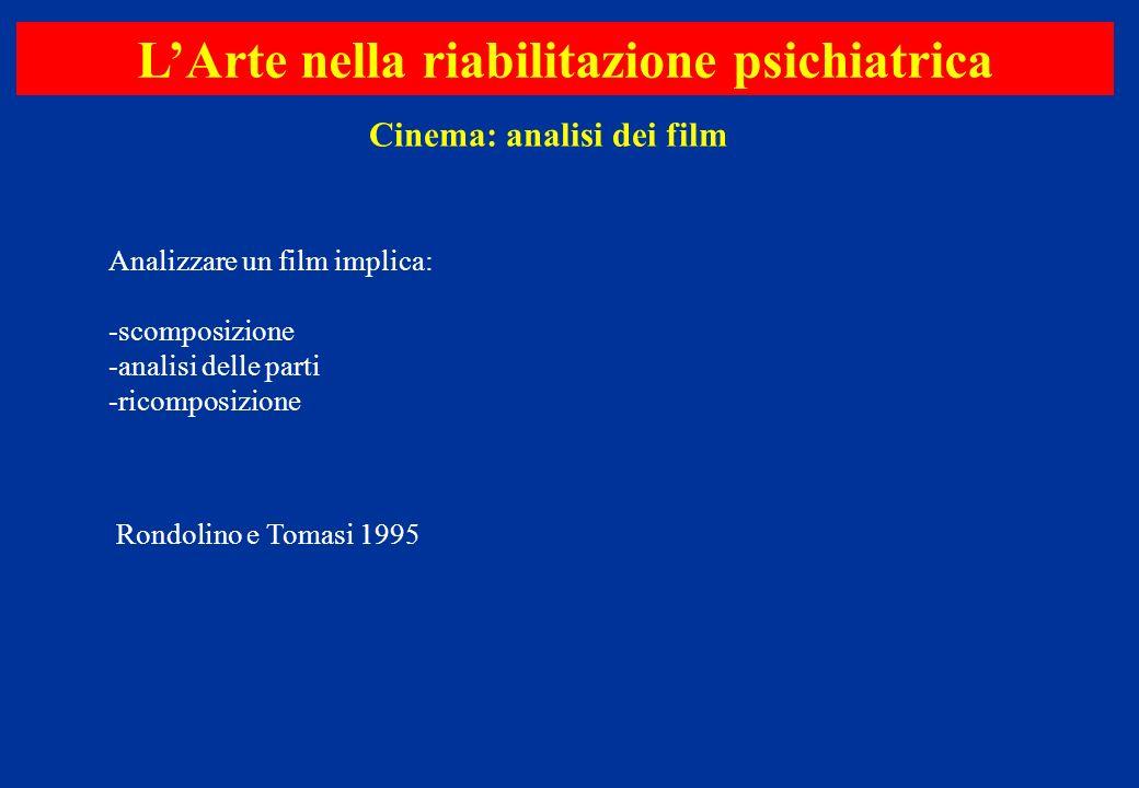 L'Arte nella riabilitazione psichiatrica Cinema: analisi dei film