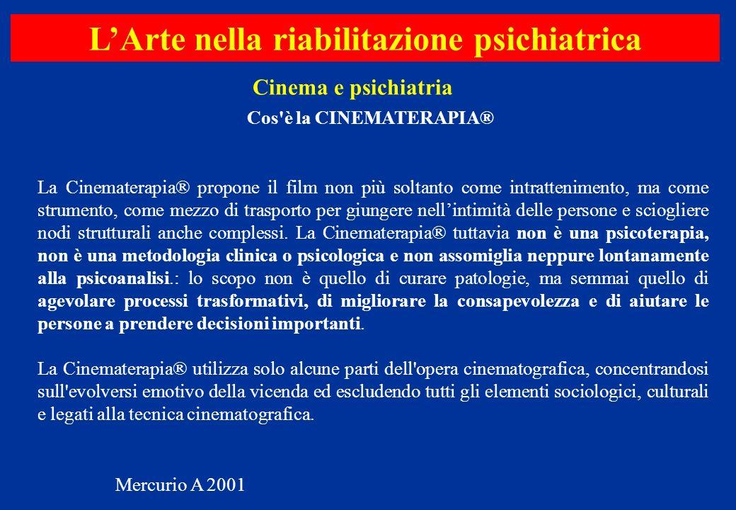 L'Arte nella riabilitazione psichiatrica Cos è la CINEMATERAPIA®