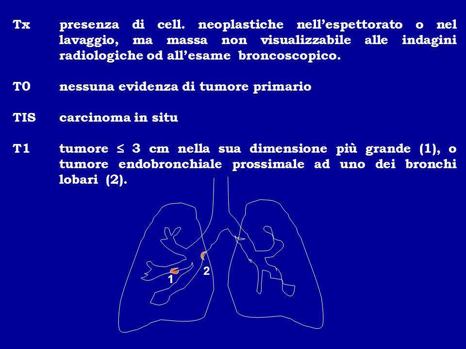 T0 nessuna evidenza di tumore primario TIS carcinoma in situ