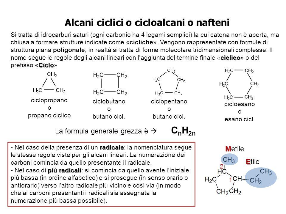 Alcani ciclici o cicloalcani o nafteni