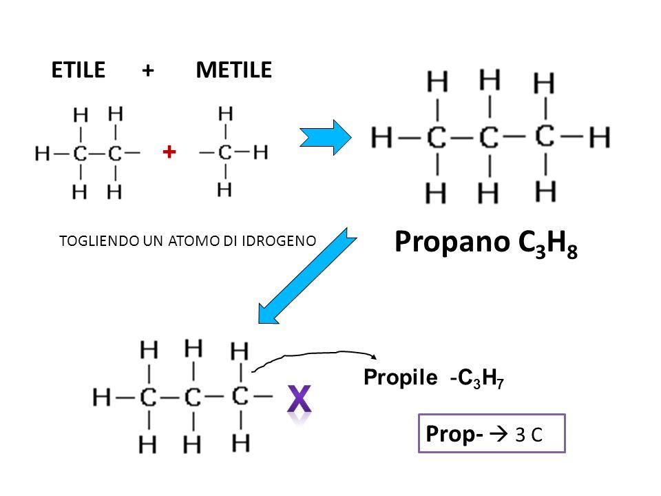 X Propano C3H8 ETILE + METILE + Prop-  3 C Propile -C3H7