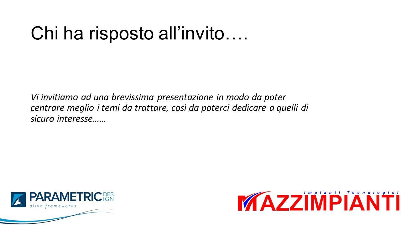 Chi ha risposto all'invito….