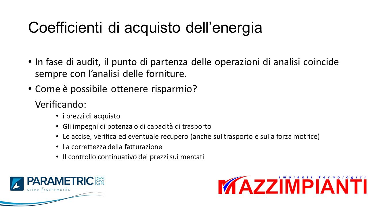Coefficienti di acquisto dell'energia