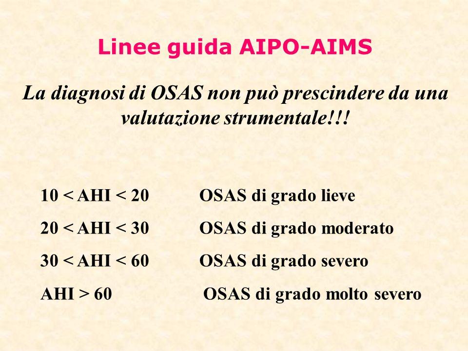 Linee guida AIPO-AIMS La diagnosi di OSAS non può prescindere da una valutazione strumentale!!! 10 < AHI < 20 OSAS di grado lieve.