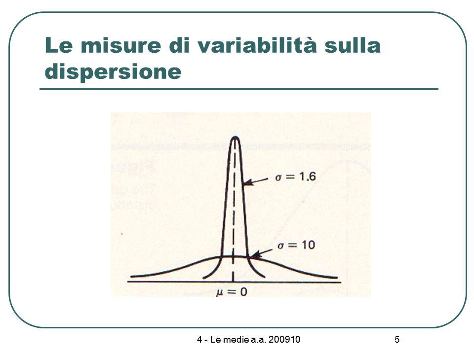 Le misure di variabilità sulla dispersione
