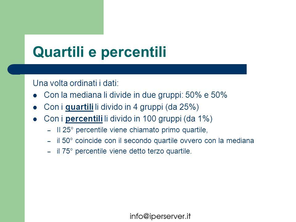 Quartili e percentili Una volta ordinati i dati: