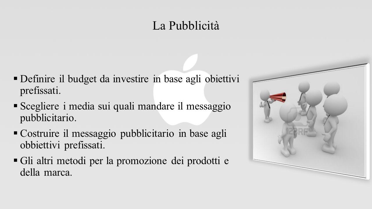La Pubblicità Definire il budget da investire in base agli obiettivi prefissati. Scegliere i media sui quali mandare il messaggio pubblicitario.