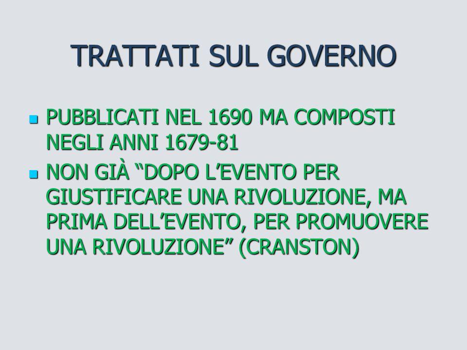 TRATTATI SUL GOVERNO PUBBLICATI NEL 1690 MA COMPOSTI NEGLI ANNI 1679-81.