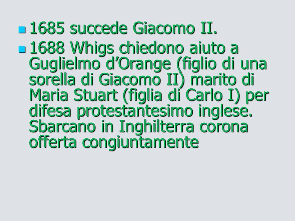 1685 succede Giacomo II.