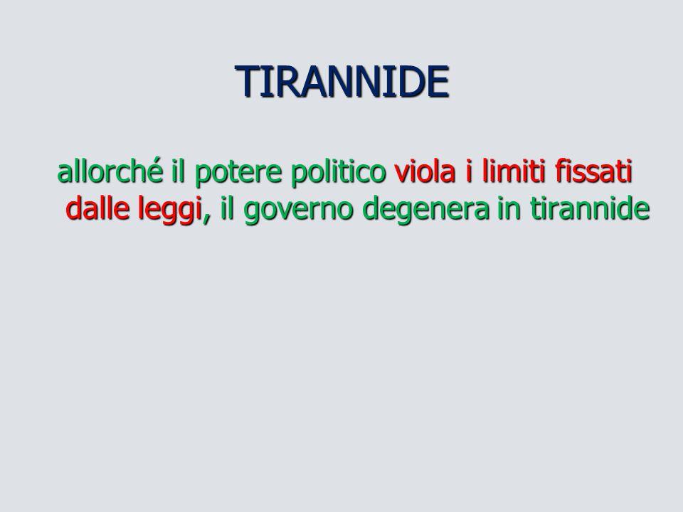 TIRANNIDE allorché il potere politico viola i limiti fissati dalle leggi, il governo degenera in tirannide.