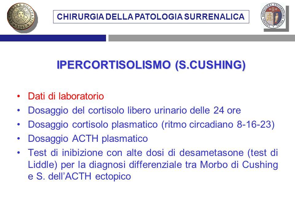 CHIRURGIA DELLA PATOLOGIA SURRENALICA IPERCORTISOLISMO (S.CUSHING)