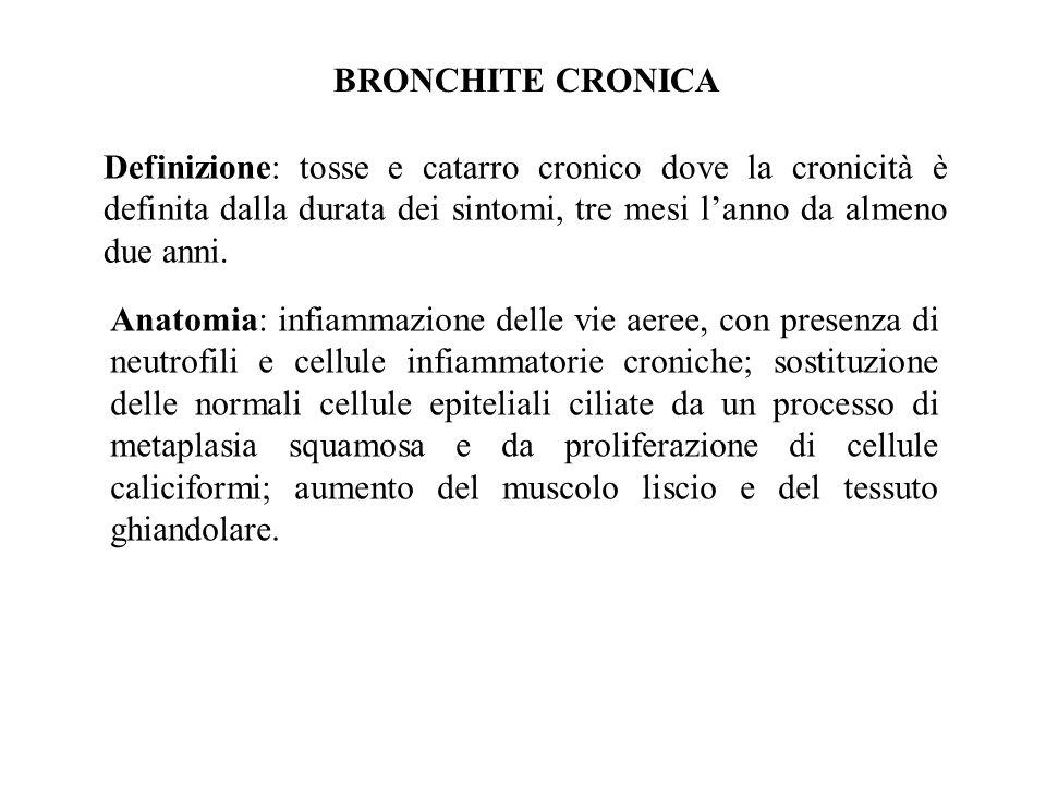 BRONCHITE CRONICA Definizione: tosse e catarro cronico dove la cronicità è definita dalla durata dei sintomi, tre mesi l'anno da almeno due anni.