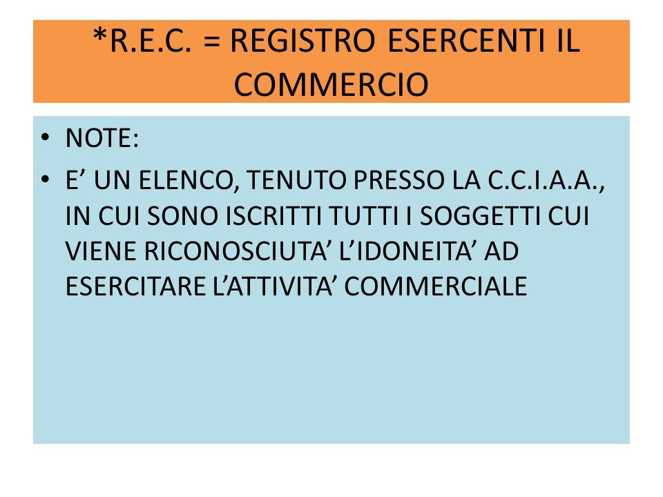 *R.E.C. = REGISTRO ESERCENTI IL COMMERCIO