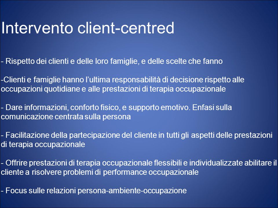Intervento client-centred
