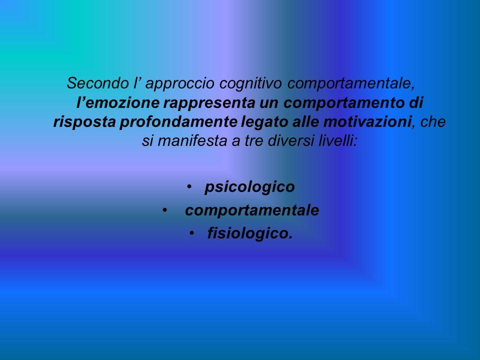 Secondo l' approccio cognitivo comportamentale, l'emozione rappresenta un comportamento di risposta profondamente legato alle motivazioni, che si manifesta a tre diversi livelli: