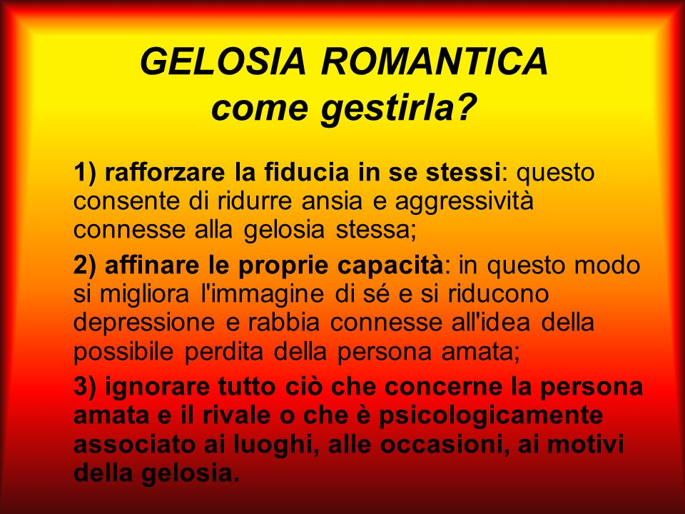 GELOSIA ROMANTICA come gestirla