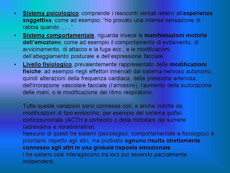 Sistema psicologico: comprende i resoconti verbali relativi all'esperienza soggettiva, come ad esempio: ho provato una intensa sensazione di rabbia quando ...... .