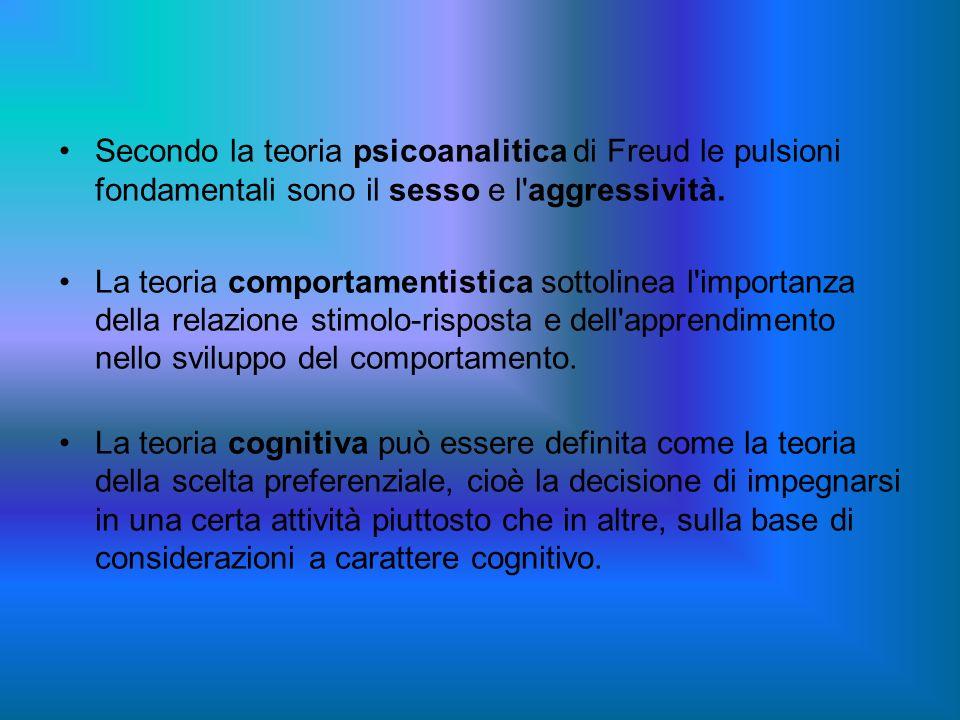 Secondo la teoria psicoanalitica di Freud le pulsioni fondamentali sono il sesso e l aggressività.