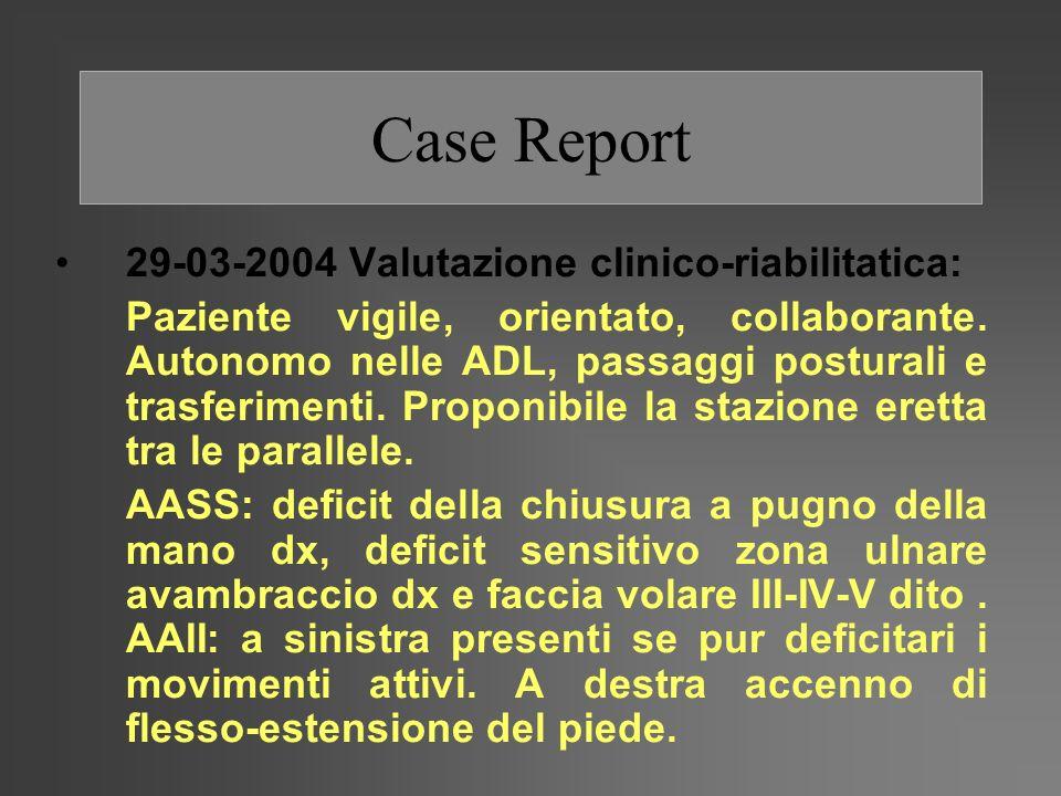 Case Report 29-03-2004 Valutazione clinico-riabilitatica:
