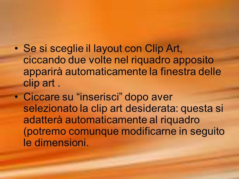 Se si sceglie il layout con Clip Art, ciccando due volte nel riquadro apposito apparirà automaticamente la finestra delle clip art .
