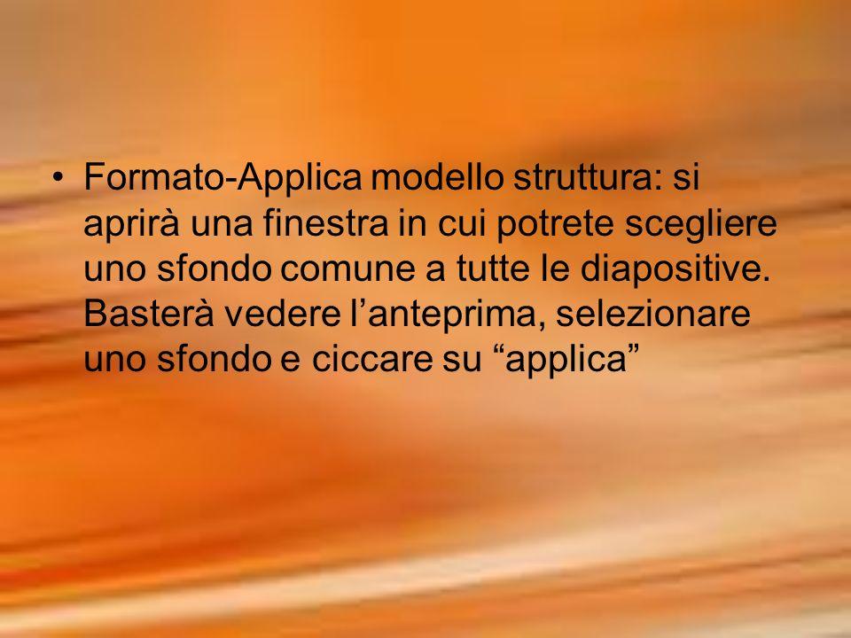 Formato-Applica modello struttura: si aprirà una finestra in cui potrete scegliere uno sfondo comune a tutte le diapositive.