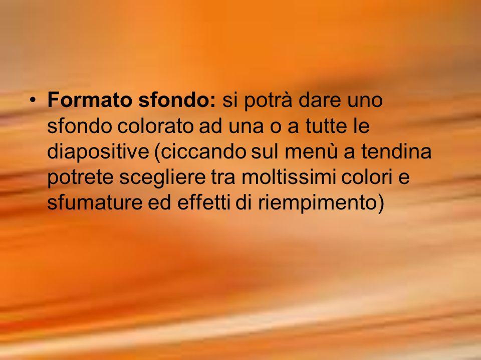 Formato sfondo: si potrà dare uno sfondo colorato ad una o a tutte le diapositive (ciccando sul menù a tendina potrete scegliere tra moltissimi colori e sfumature ed effetti di riempimento)