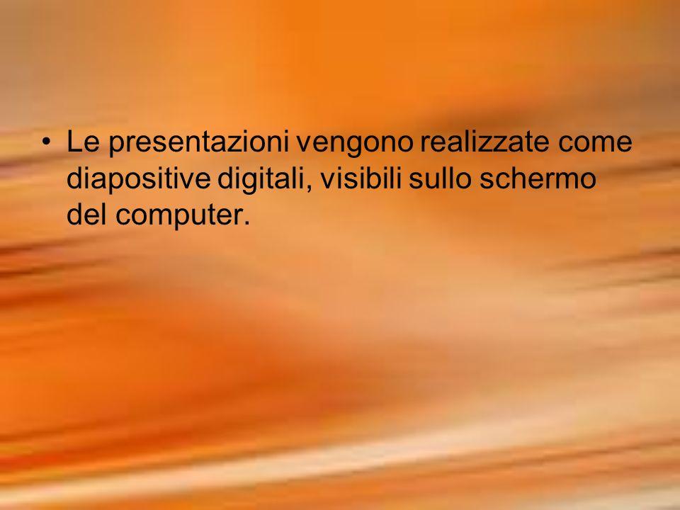 Le presentazioni vengono realizzate come diapositive digitali, visibili sullo schermo del computer.