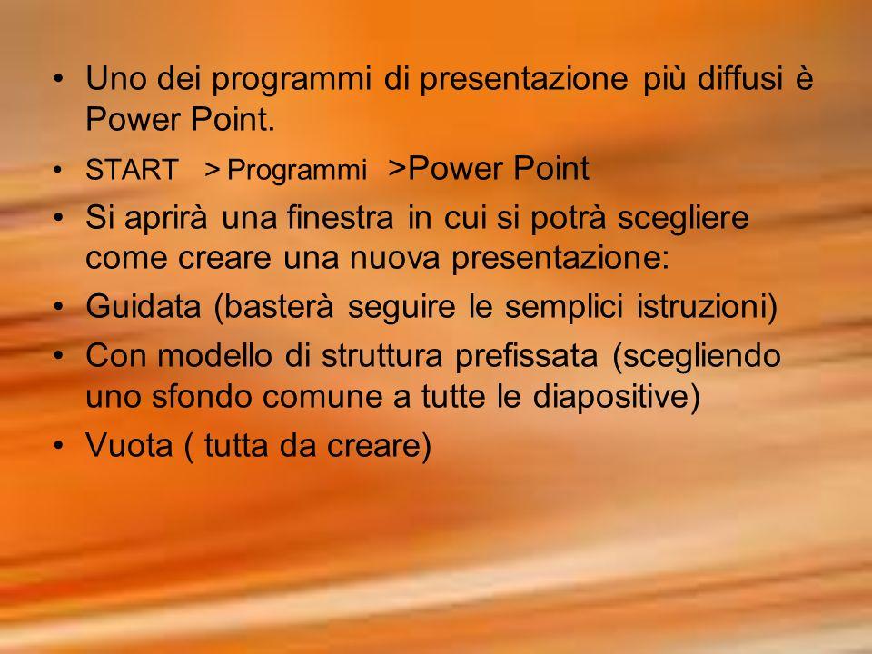 Uno dei programmi di presentazione più diffusi è Power Point.