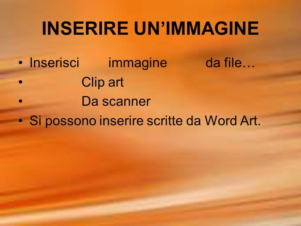 INSERIRE UN'IMMAGINE Inserisci immagine da file… Clip art Da scanner