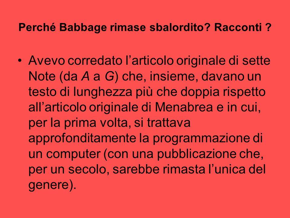Perché Babbage rimase sbalordito Racconti