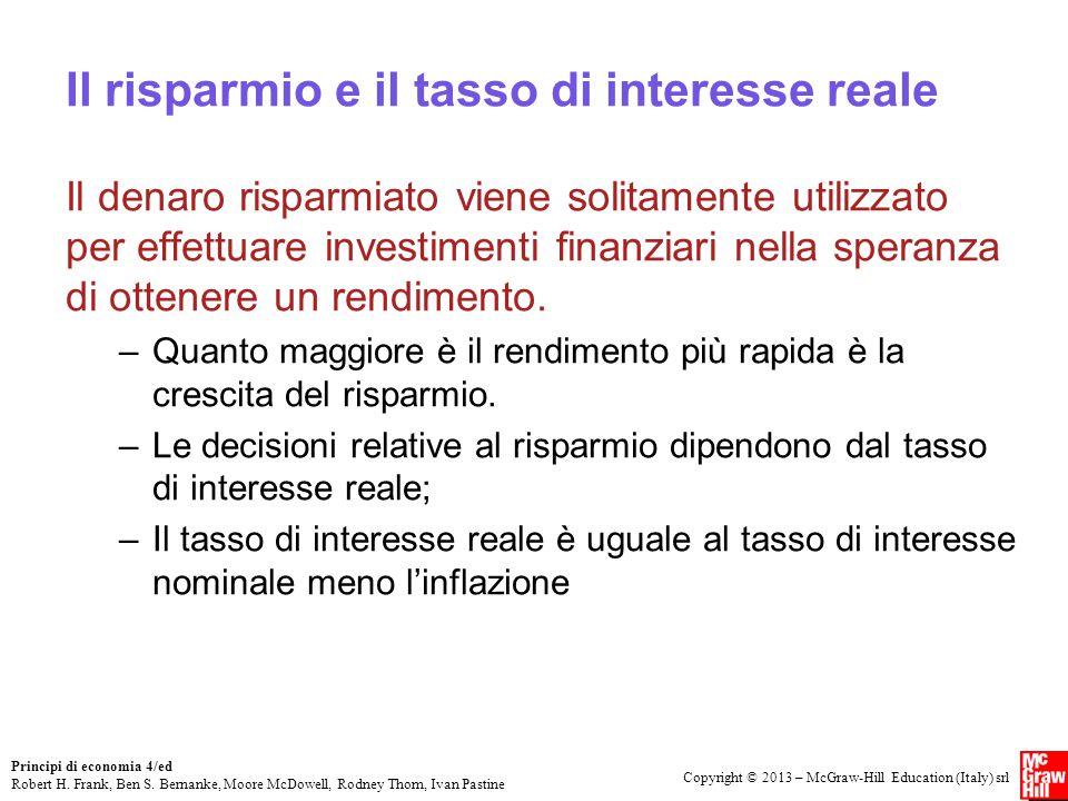 Il risparmio e il tasso di interesse reale