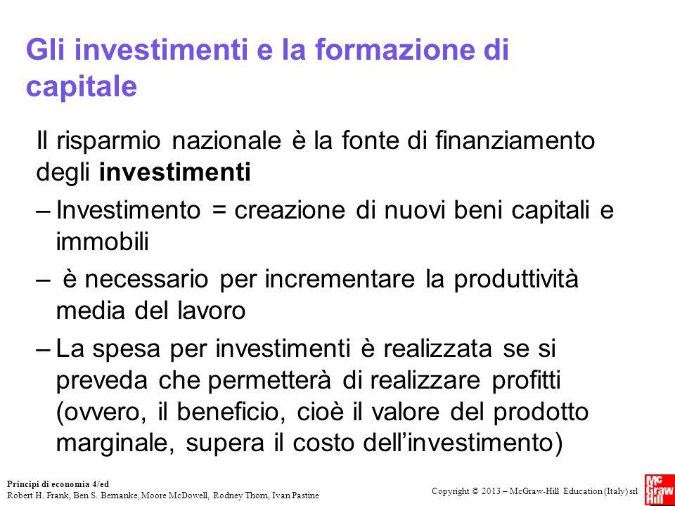 Gli investimenti e la formazione di capitale