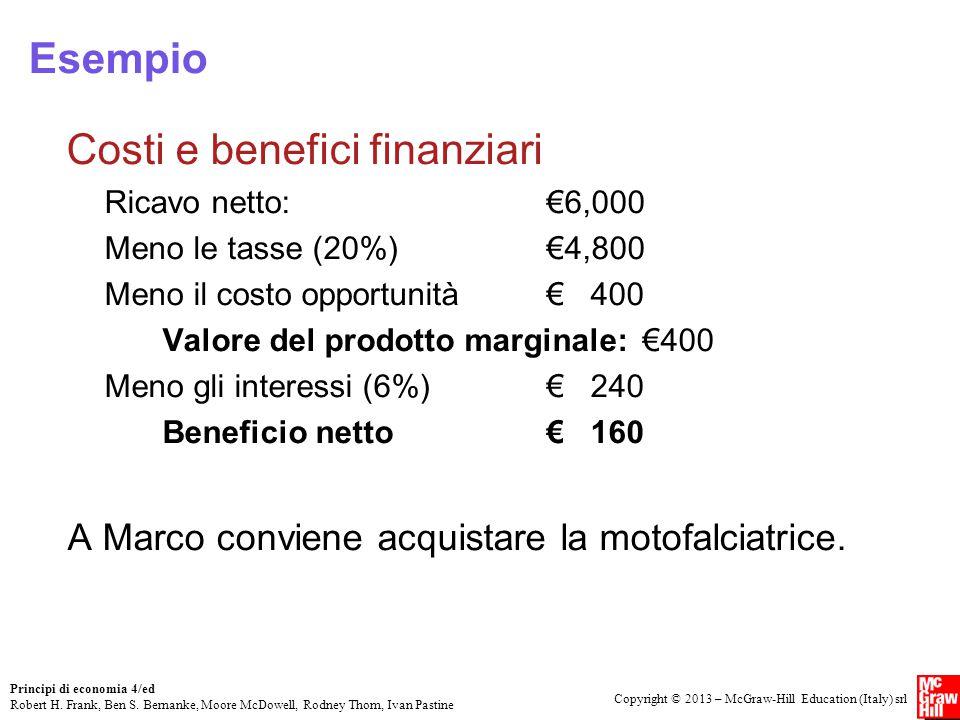 Costi e benefici finanziari