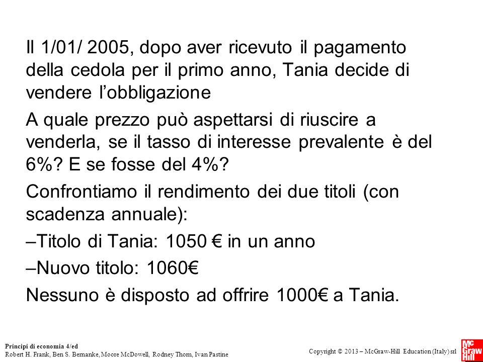 Il 1/01/ 2005, dopo aver ricevuto il pagamento della cedola per il primo anno, Tania decide di vendere l'obbligazione