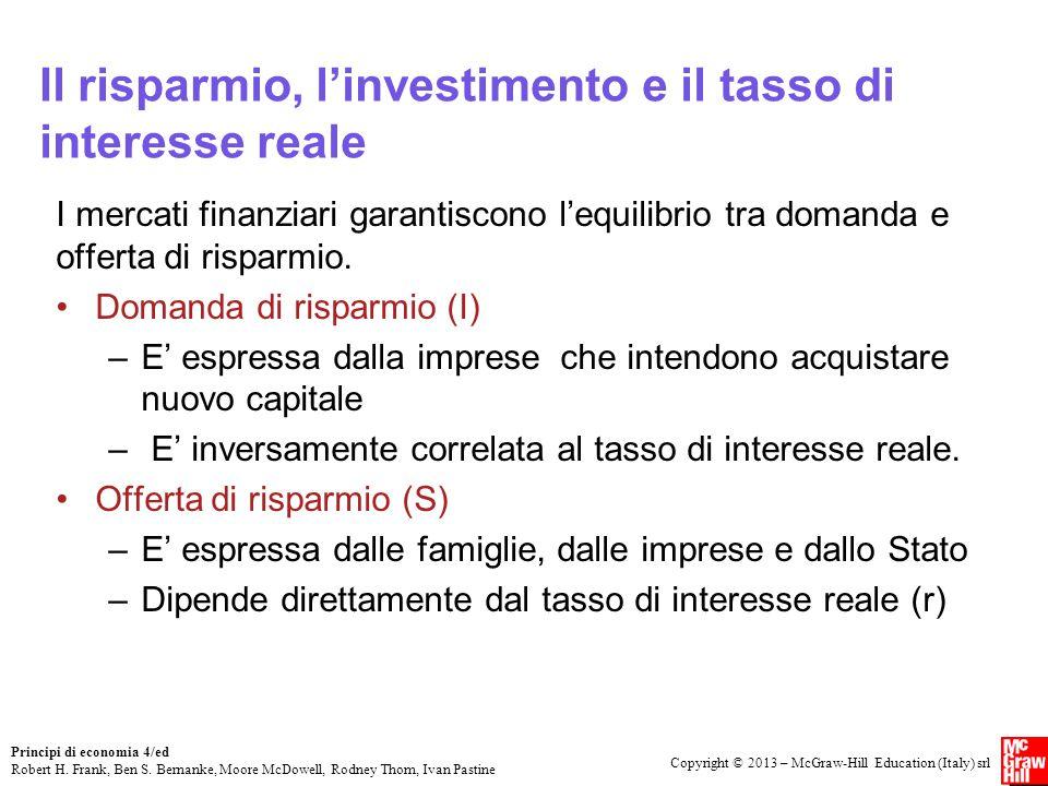 Il risparmio, l'investimento e il tasso di interesse reale
