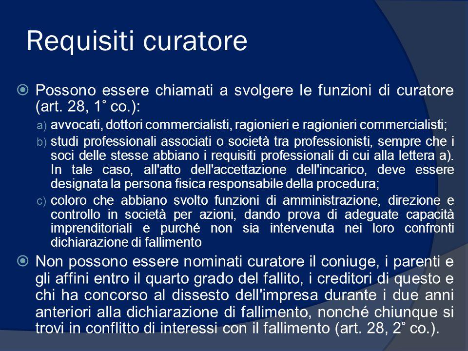 Requisiti curatore Possono essere chiamati a svolgere le funzioni di curatore (art. 28, 1° co.):