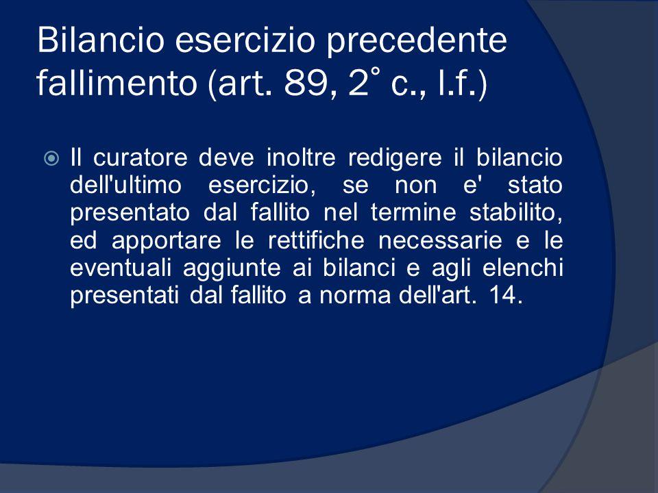 Bilancio esercizio precedente fallimento (art. 89, 2° c., l.f.)