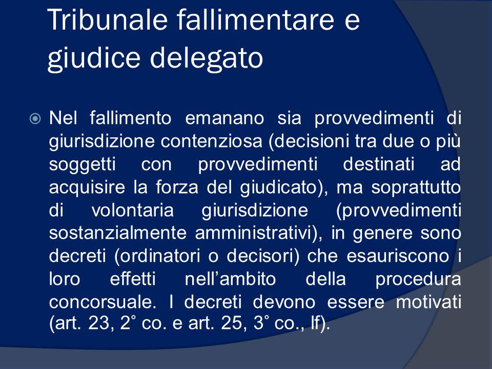 Tribunale fallimentare e giudice delegato