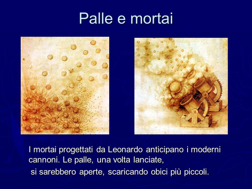 Palle e mortai I mortai progettati da Leonardo anticipano i moderni cannoni. Le palle, una volta lanciate,