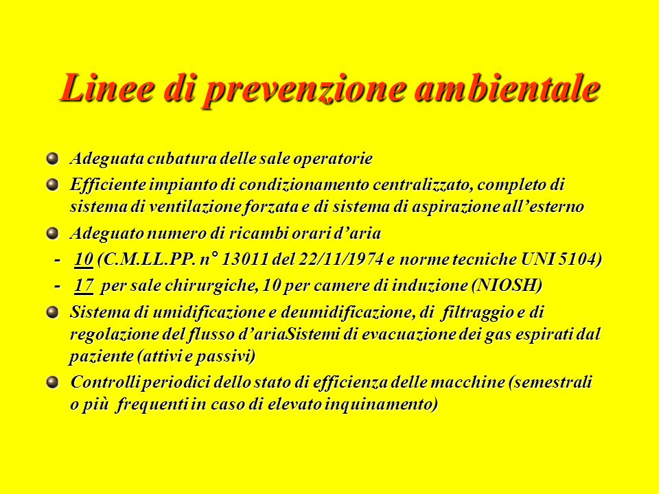 Linee di prevenzione ambientale