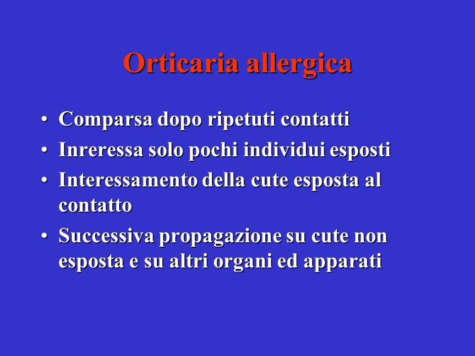 Orticaria allergica Comparsa dopo ripetuti contatti