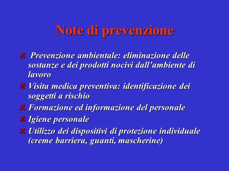 Note di prevenzione Prevenzione ambientale: eliminazione delle sostanze e dei prodotti nocivi dall'ambiente di lavoro.
