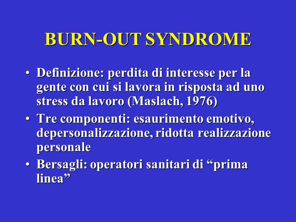 BURN-OUT SYNDROME Definizione: perdita di interesse per la gente con cui si lavora in risposta ad uno stress da lavoro (Maslach, 1976)