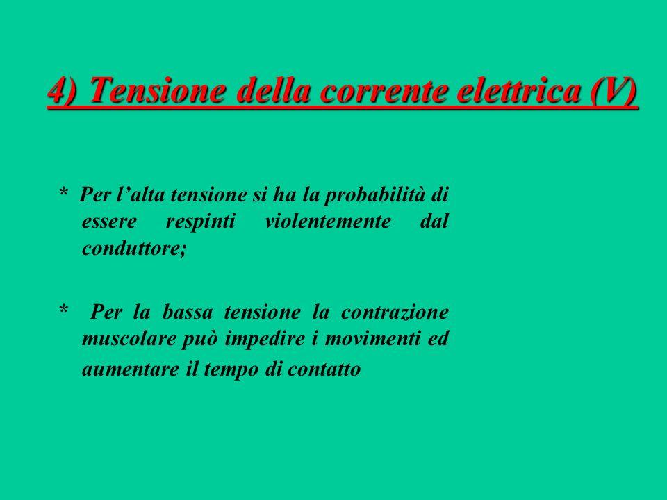 4) Tensione della corrente elettrica (V)